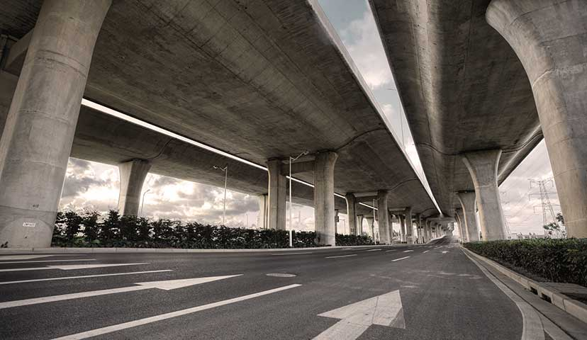 perspective view of highway overpass