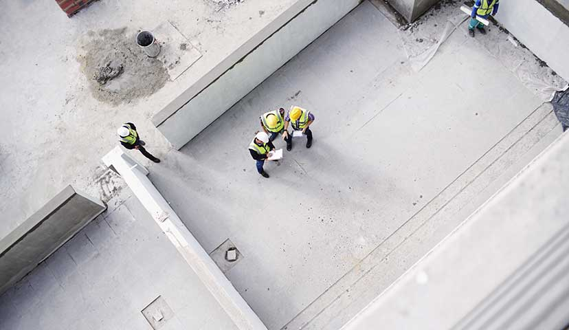 Overhead photo of construction workers