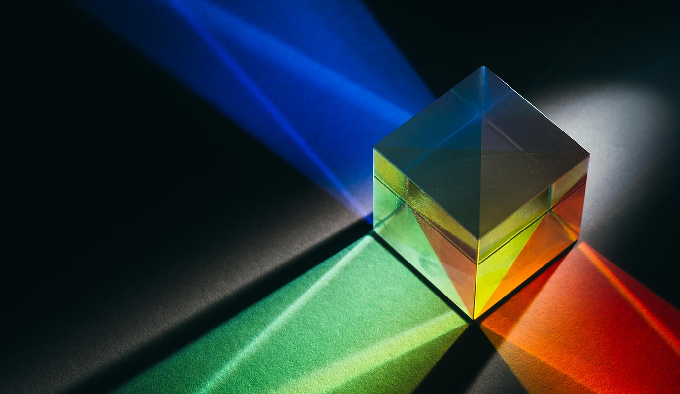 A cube prism refracts light