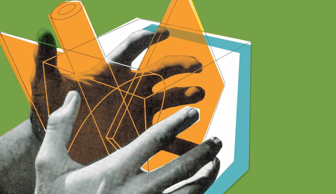 An illustration of hands holding a cube and other geometric shapes