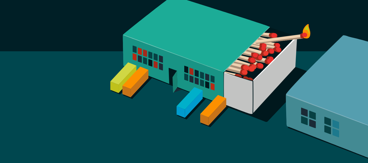 An illustration of a building made to look like a matchbox