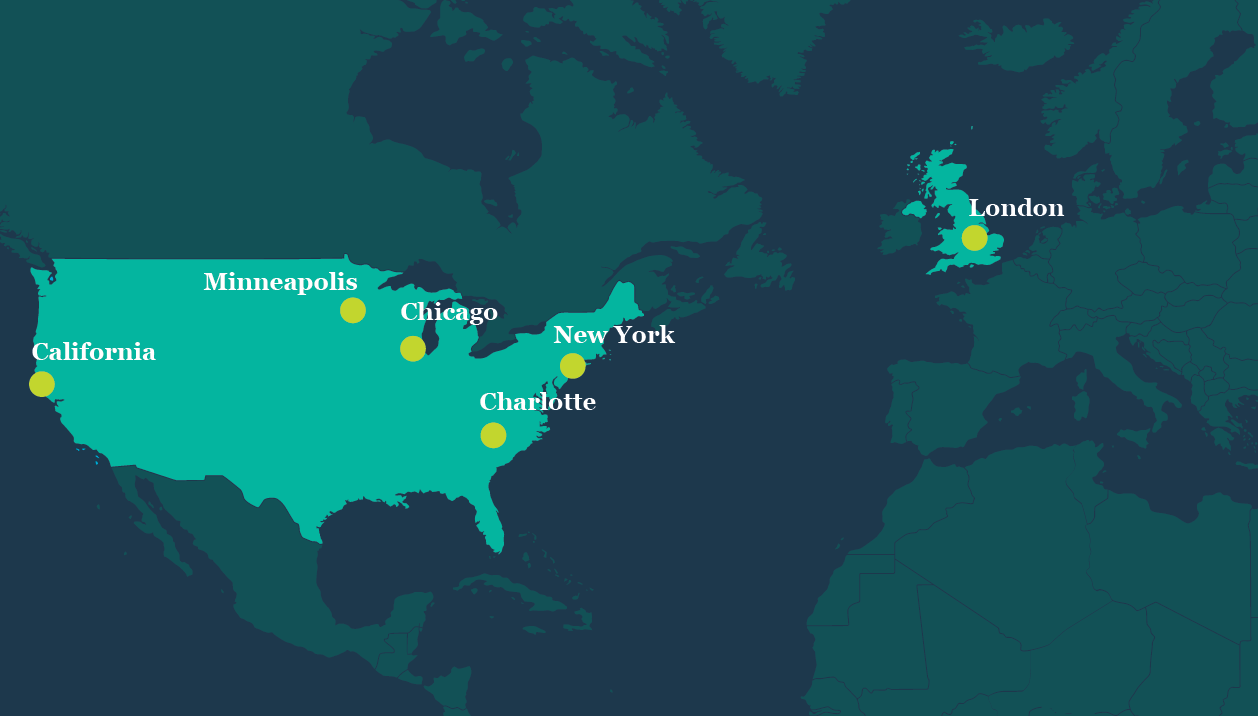 Map of LEAD local chapters in California, Charlotte, Chicago, London, Minneapolis, and New York