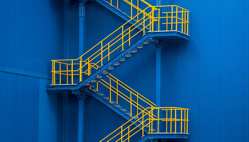 Blue and yellow staircase