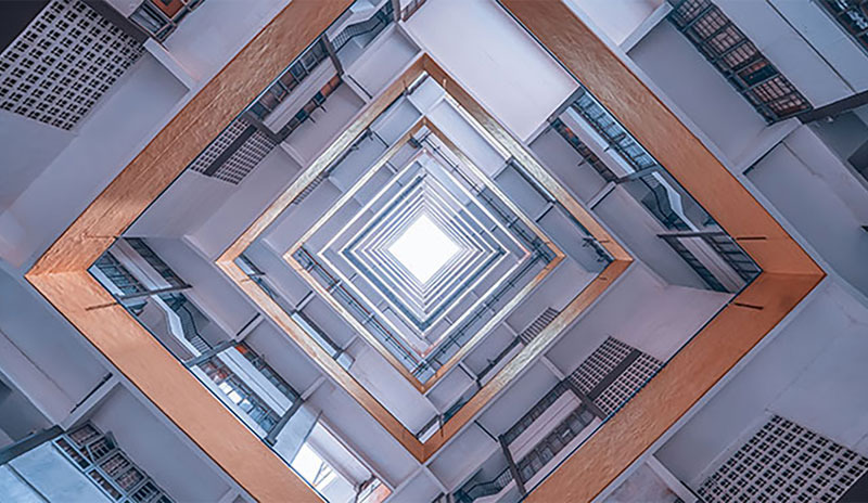 abstract view inside of a building
