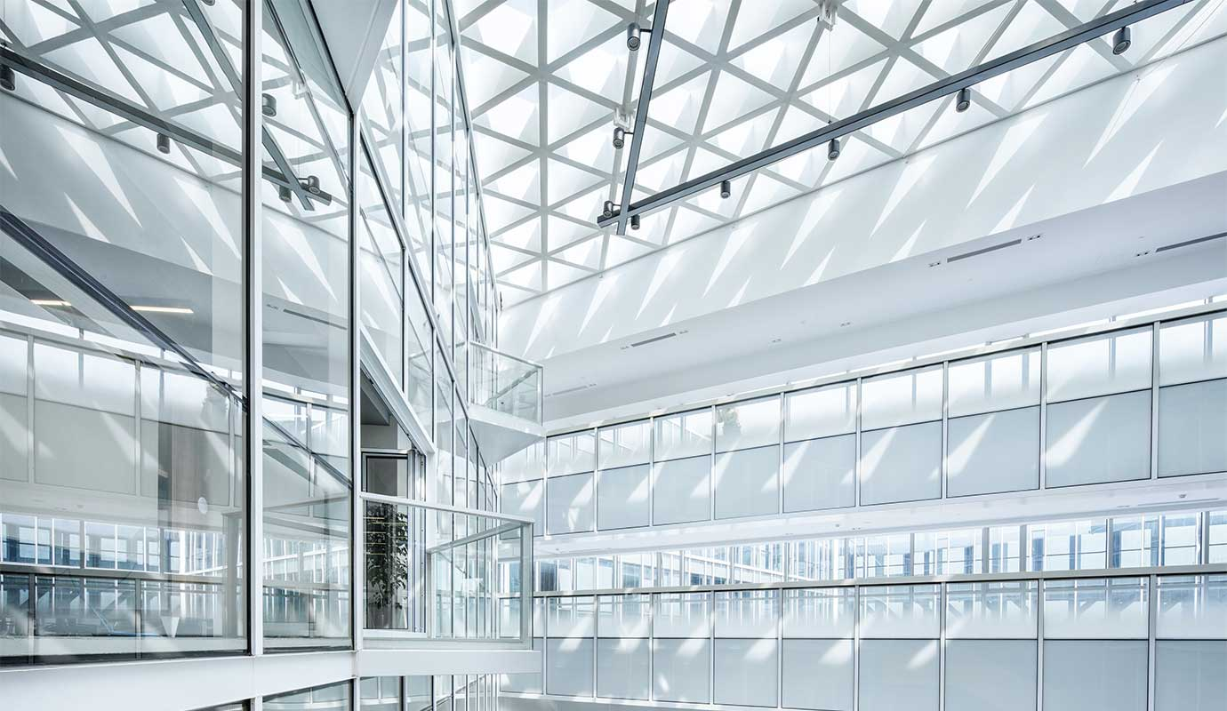Glass interior of a building
