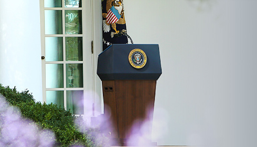 The presidential podium outdoors