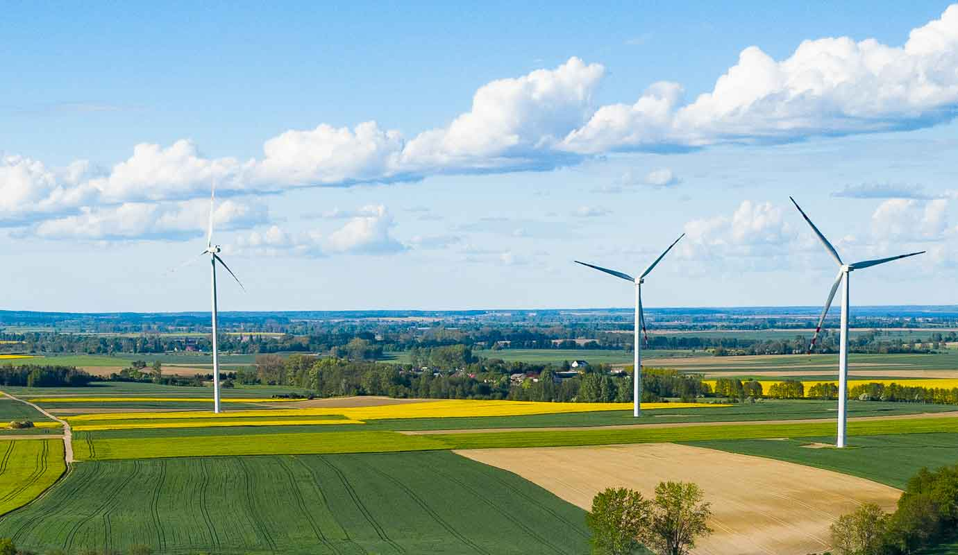 Renewable energy wind turbines within fields of farmland
