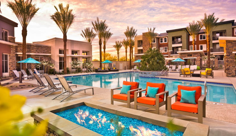 External shot of pool at Avion apartments