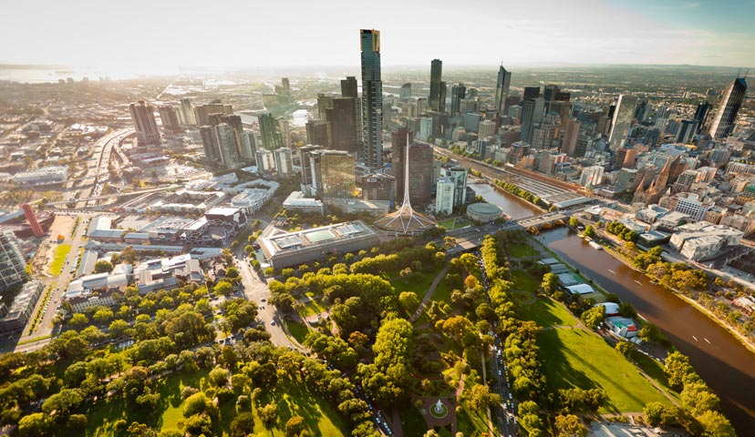 Aerial view of Melbourne, Australia