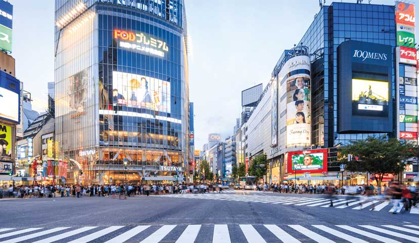 Mall and Crossing in Tokyo
