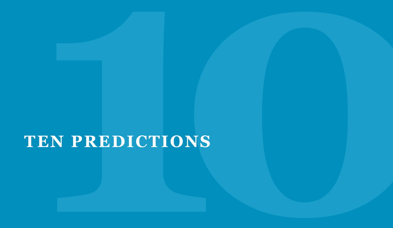 Ten predictions - large 10 over blue background