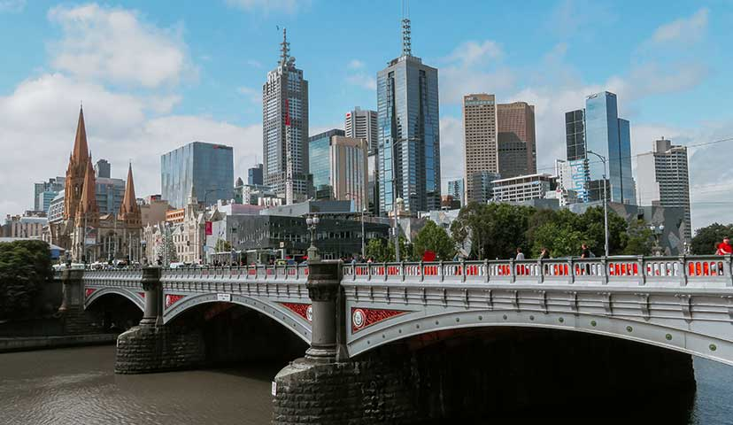 Riverside view of the city of Melbourne, Australia