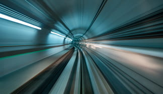 Abstract image of moving tunnel