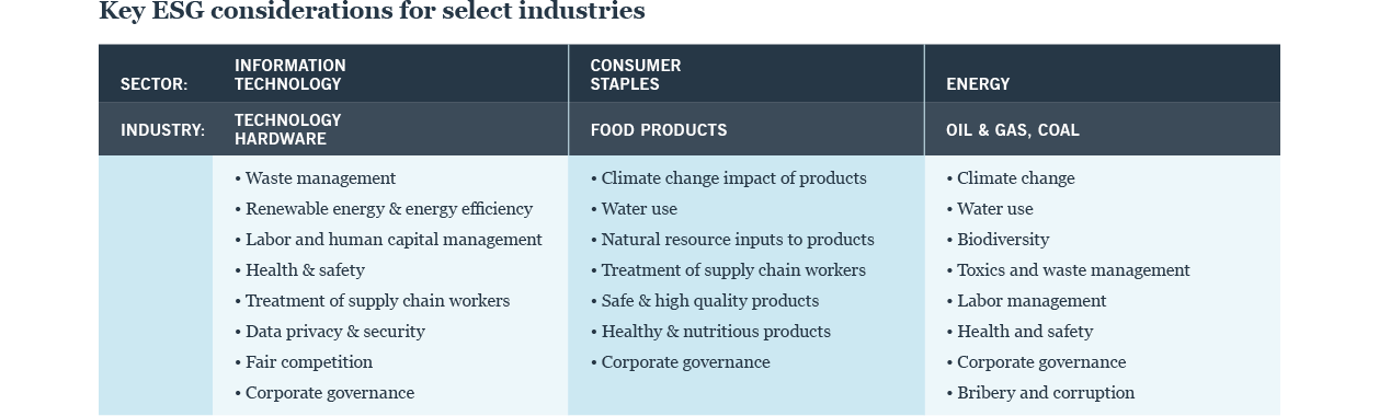 Key ESG considerations for select industries