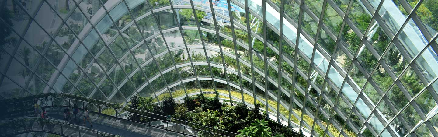 A large indoor green space under a curved glass roof