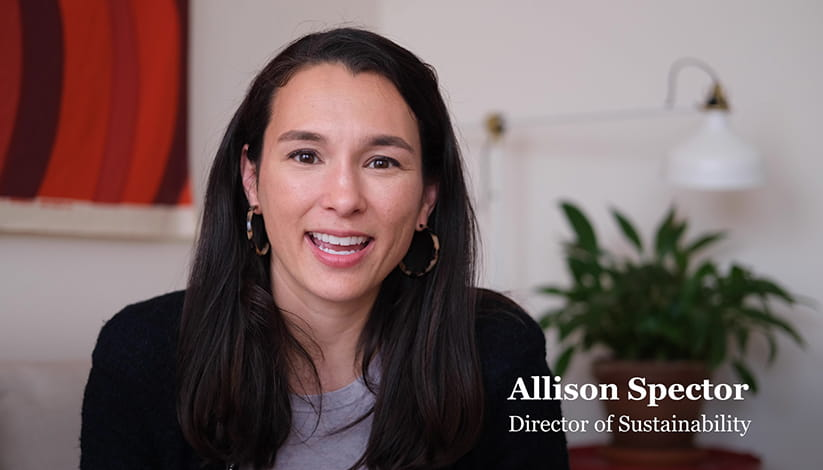Allison Spector, Director of Sustainability, speaks to the camera