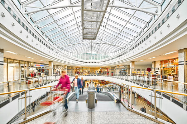 Inside the Burgaupark shopping centre
