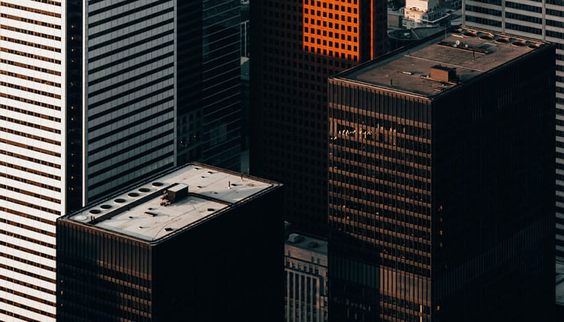 An aerial view of buildings in Chicago